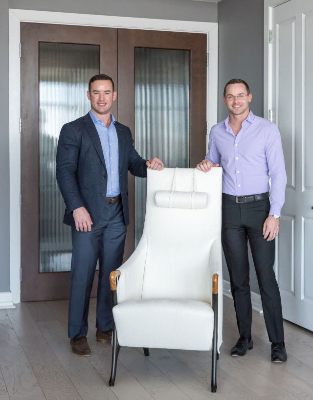 l r  casa co owners jacob sudhoff and jerry hooker with giorgetti chair  photo credit michael hunter gbgqh3