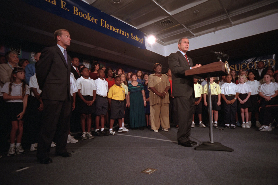 President George W. Bush delivers remarks to the nation regarding the terrorist attacks on U.S. soil from Emma E. Booker Elementary School in Sarasota.
