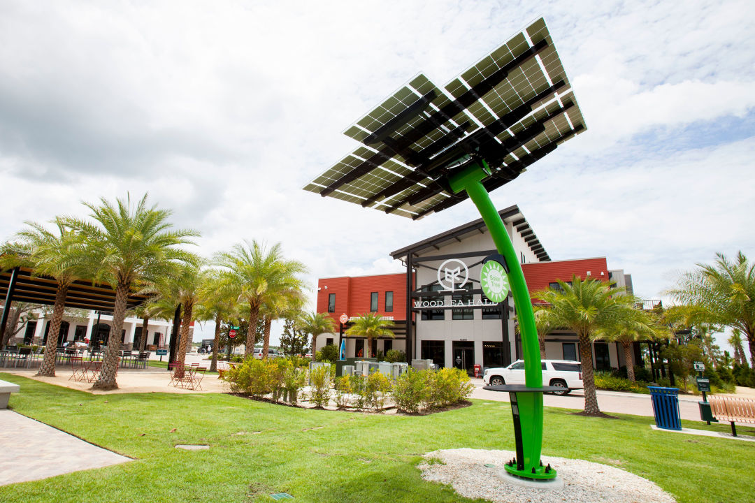 """A solar """"tree"""" at Babcock Ranch doubles as a charging station and public art."""