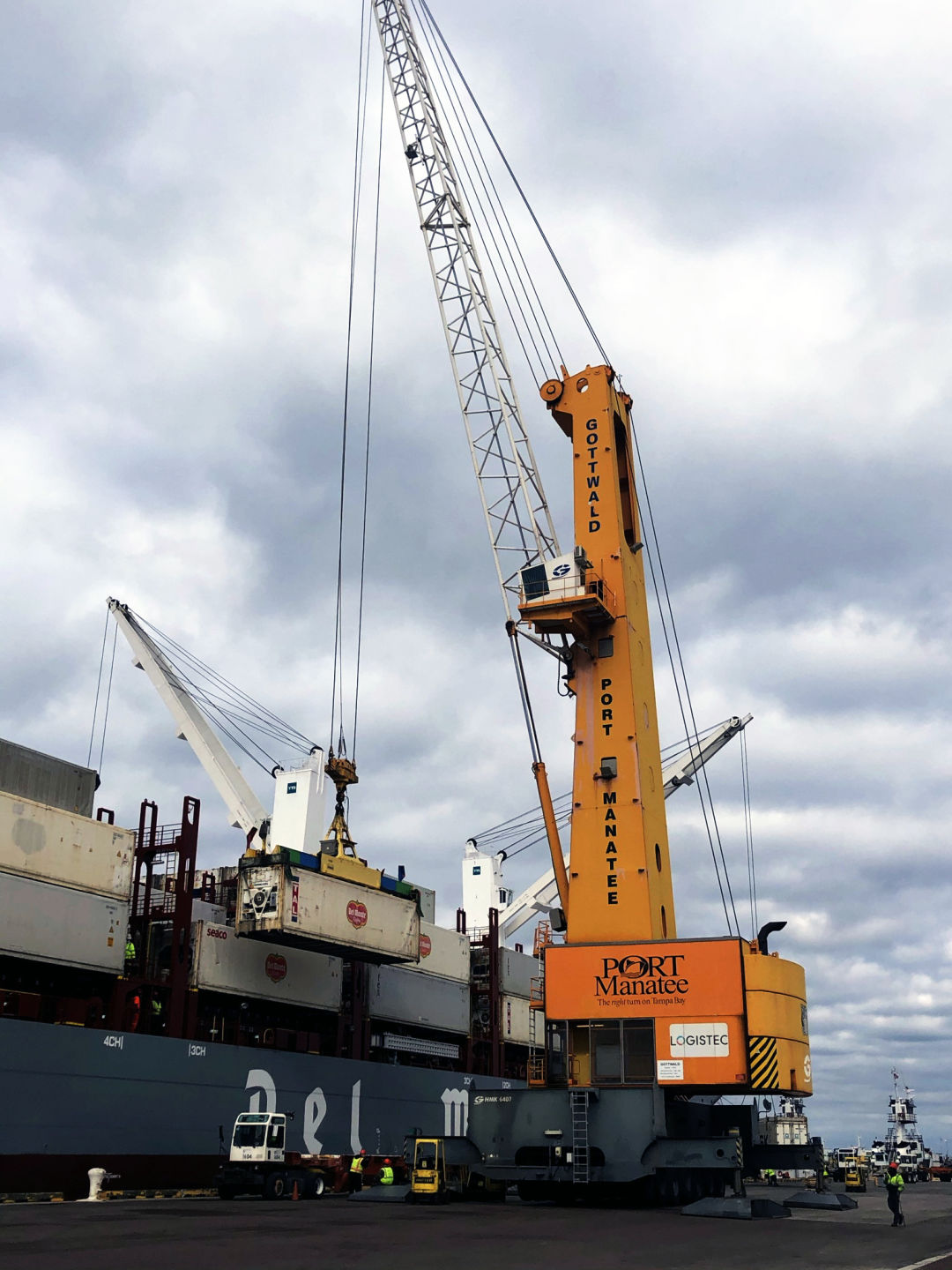 Containerized cargo trade is breaking records at Port Manatee, including via new-generation containerships being deployed by Fresh Del Monte Produce Inc.