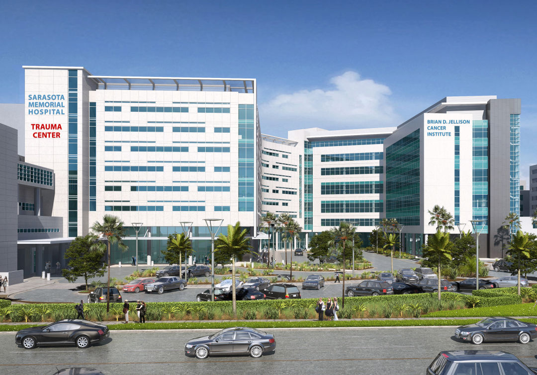 A rendering of Sarasota Memorial's Brian D. Jellison Cancer Institute