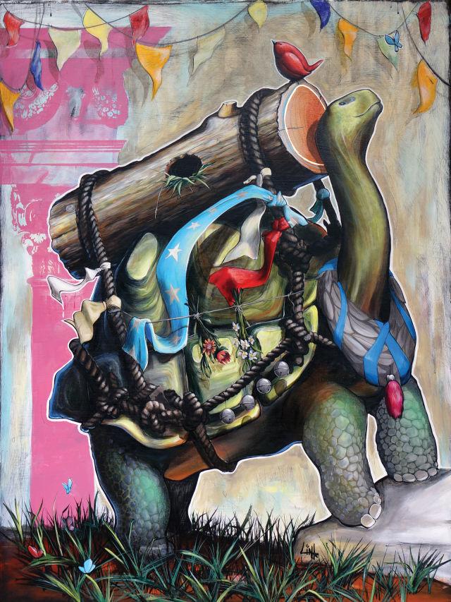 Tortoise . acrylic on wood panel . 36 x 48 vdozvs