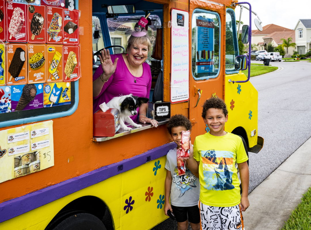 Kids standing outside the ChillMobile in Sarasota