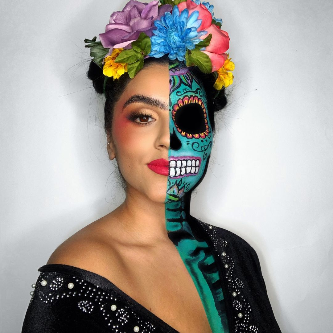 Teal and Black Dia De Los Muertos Outfit