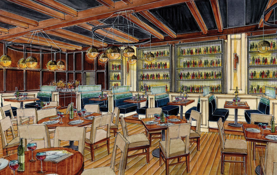 Rendering 01 Dtcgmb. The Interior Of Connors Steak And Seafood Restaurant.  Image: Namey Design Studios