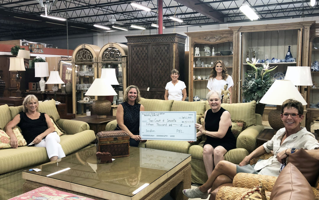 Personalized Estate Liquidation Benefitting Youth, Inc. presented Teen Court of Sarasota, Inc. with a $15,000 donation.