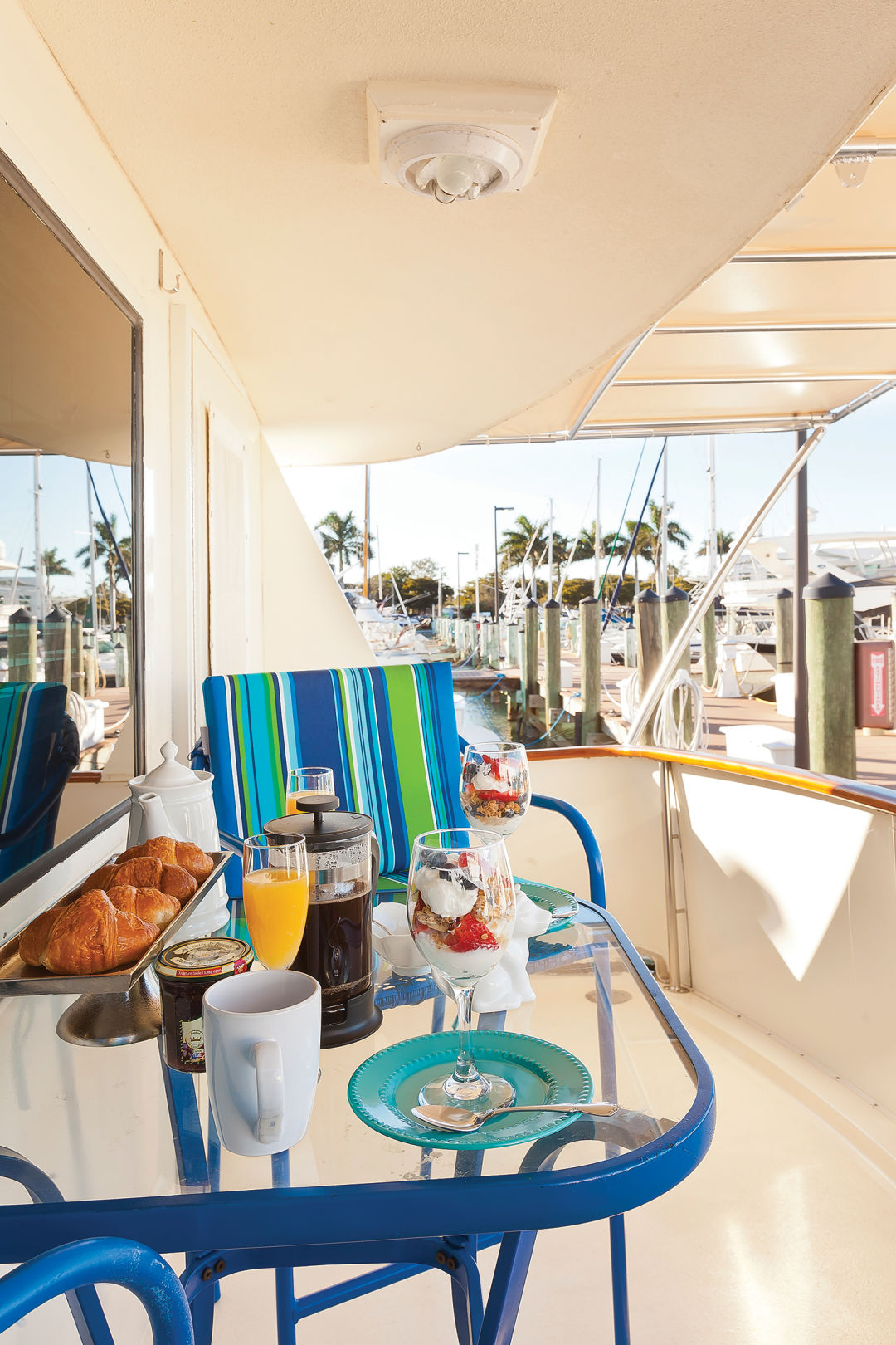 Breakfast on the rear deck of the Lancasters' yacht