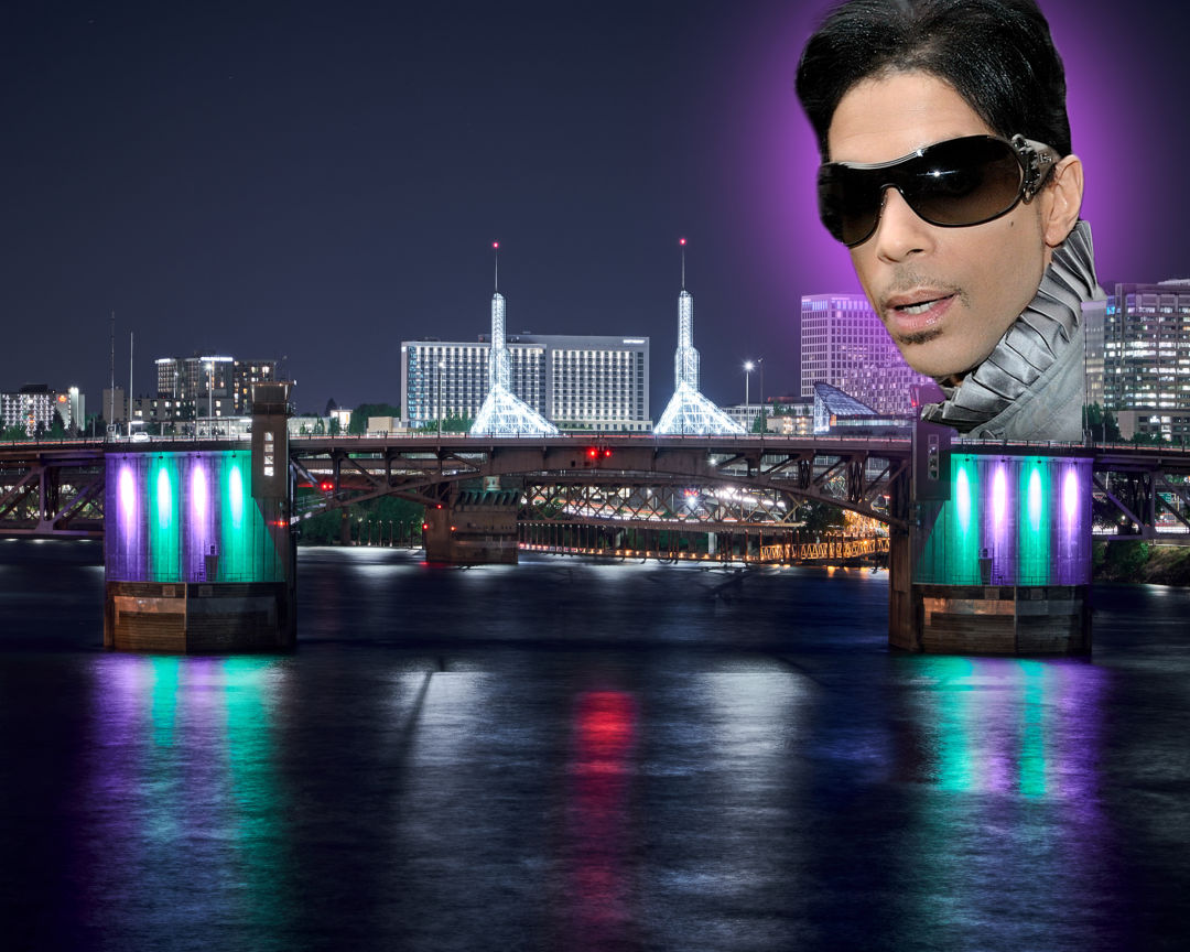 Prince's face floats above a nighttime view of the Morrison Bridge lit in purple and green