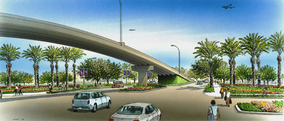 Broadway airport intersection rendering  project of houston airport system  mlgoyc