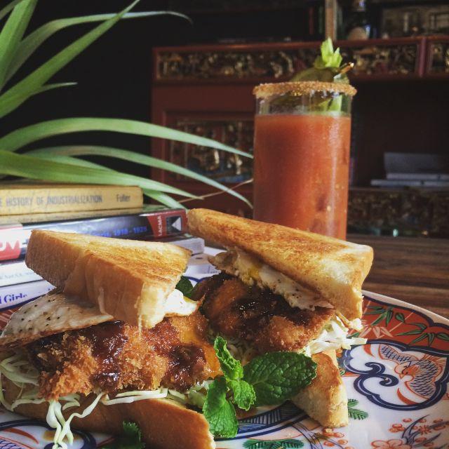 Pork katsu fried egg sandwich wrecc7