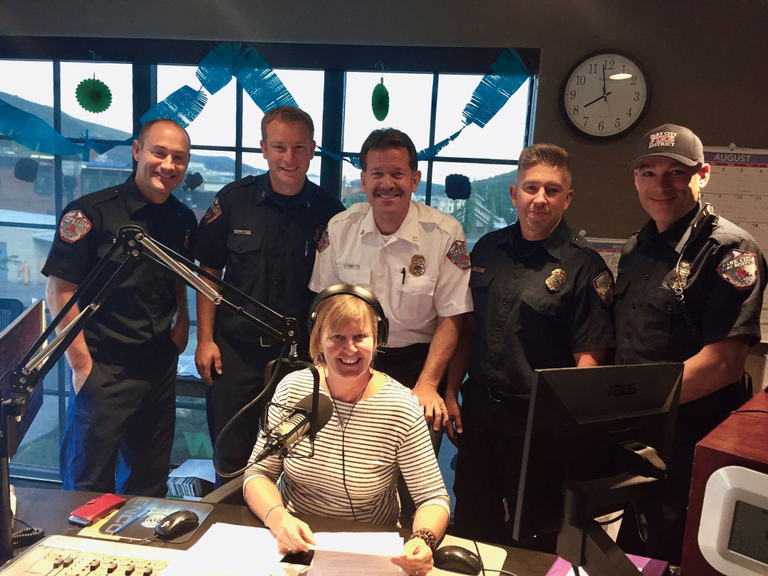 Leslie Thatcher with local firefighters