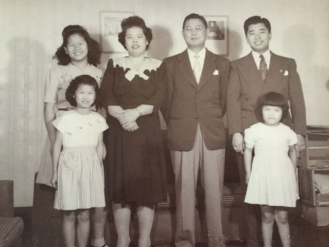 A childhood photo of Martha Wong with her family.