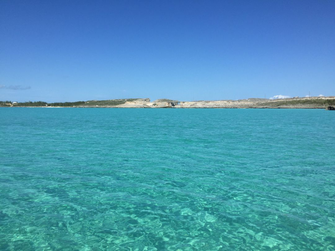 The turquoise waters of Exuma Sound
