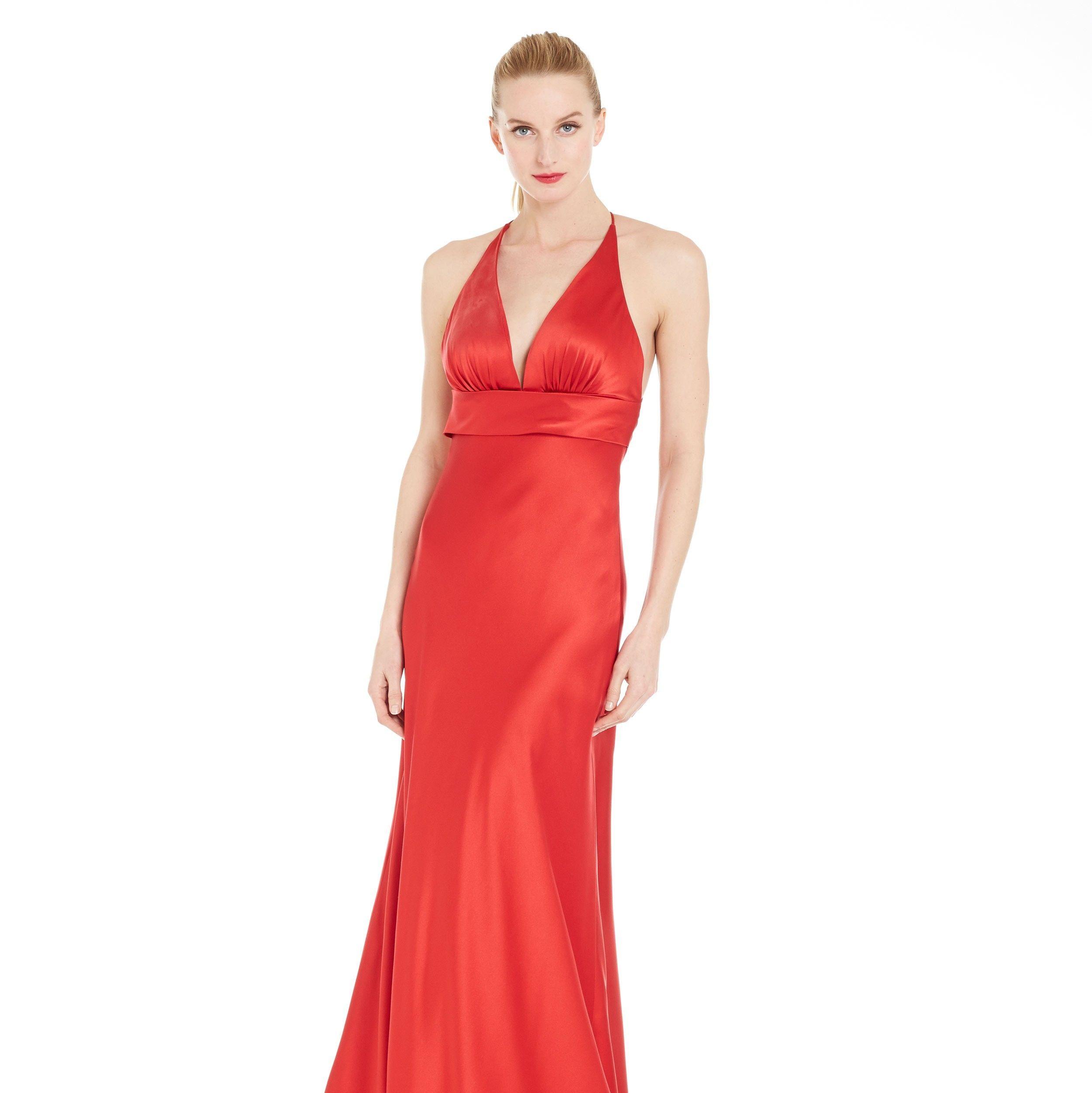 Lypl liquid luly yang ruby silk charmeuse spaghetti strap gown front 1 apjakb