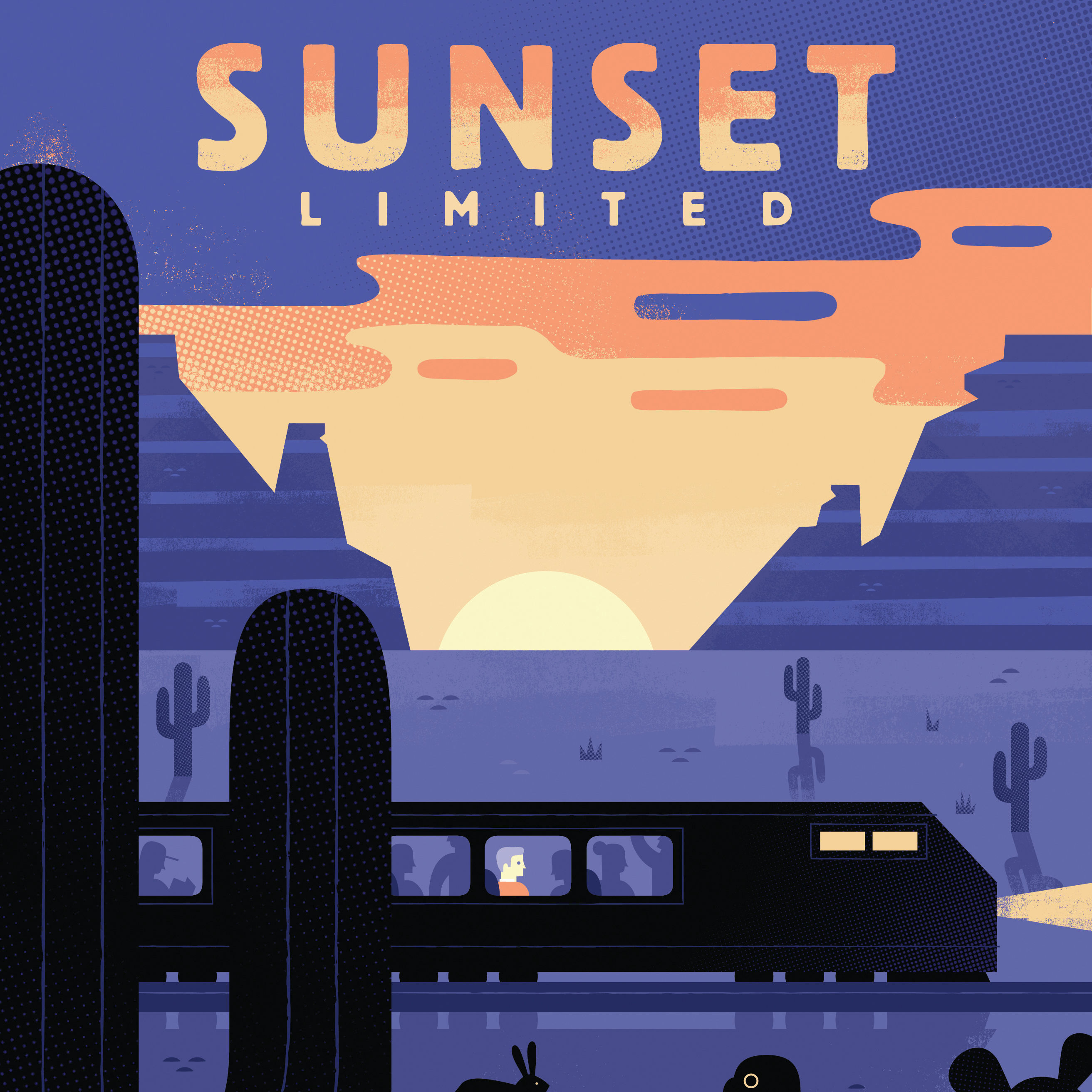 0317 open road sunset limited poster amtrak journey travel ovsh13