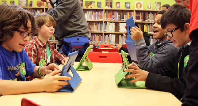 Hawthorne elementary school ribbon cutting new library school students ipads ltiadr