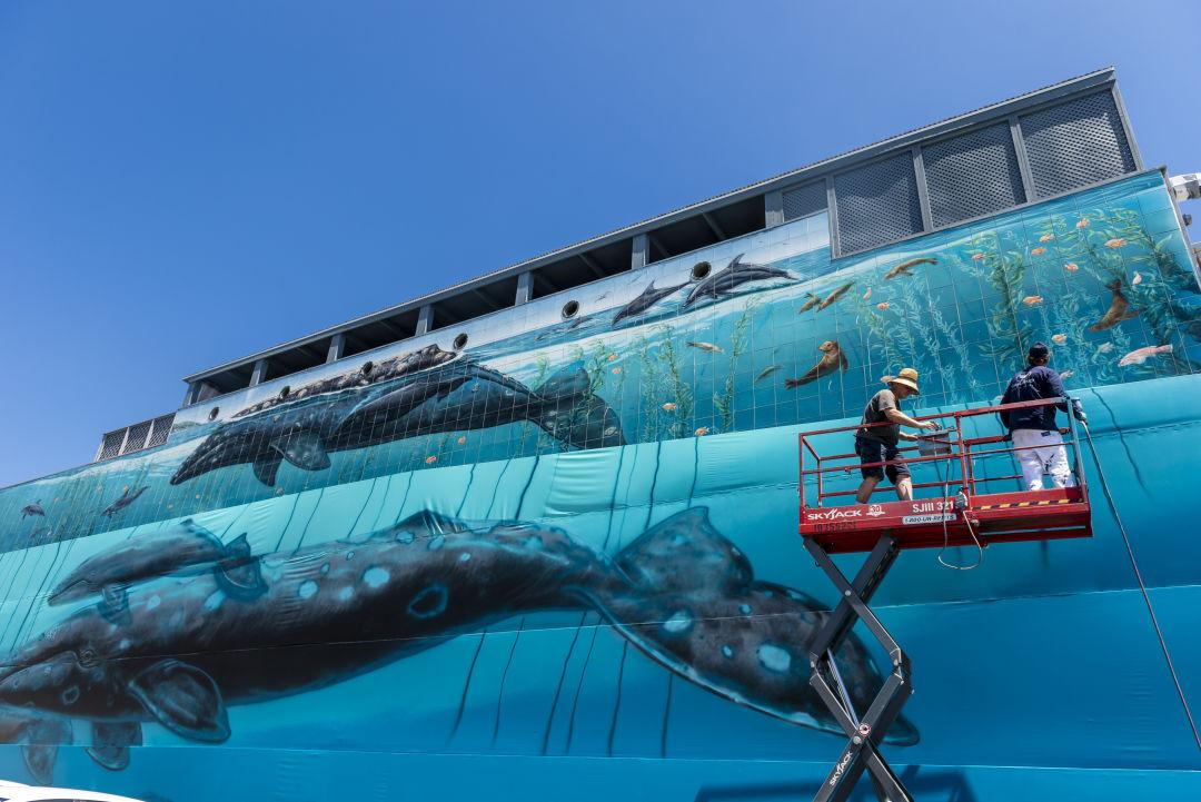 Wyland working on a mural in Laguna Beach, California.