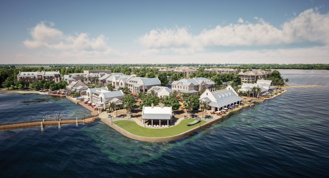 Rendering of Waterside Place, a lakefront  town center at Waterside.