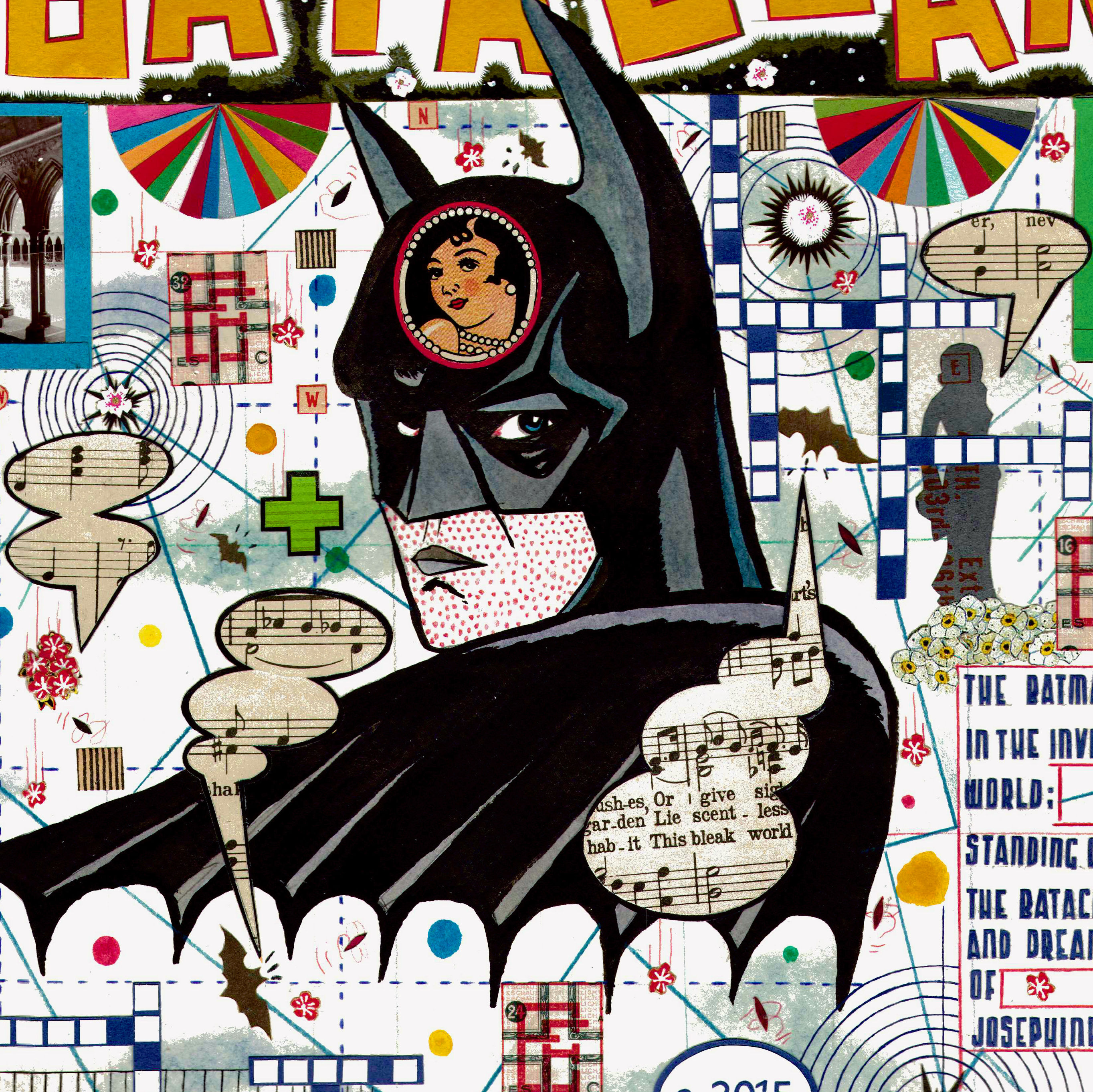 Tony fitzpatrick   the batman  in the invisible world  standing guard  2015  collage yj1x7y
