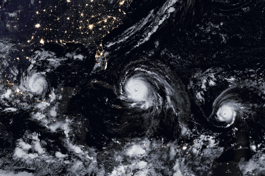 From left, hurricanes Katia, Irma and Jose in 2017.
