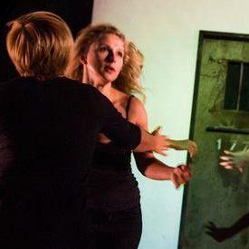 c  alex brenner  belarus free theatre   burning doors. maryna yurevich  maria alyokhina and siarhei kvachonak. racotp