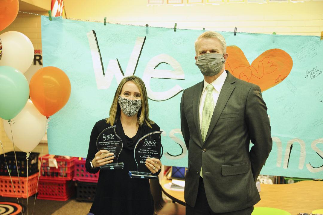 Sarasota County Teacher of the Year Kari Johnson with Sarasota County Schools superintendent Dr. Brennan Asplen.
