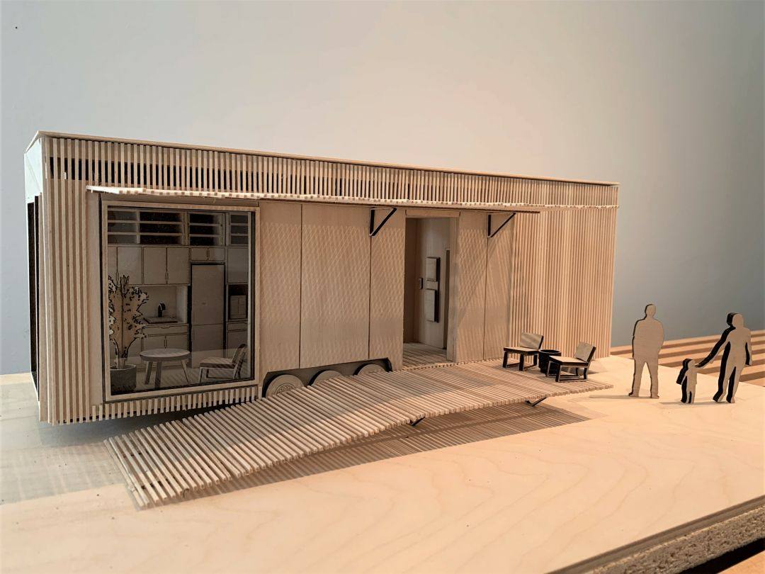 A rendering of one of the tiny house competition winners.
