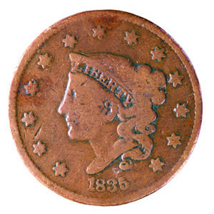1845 copper penny kdf4id