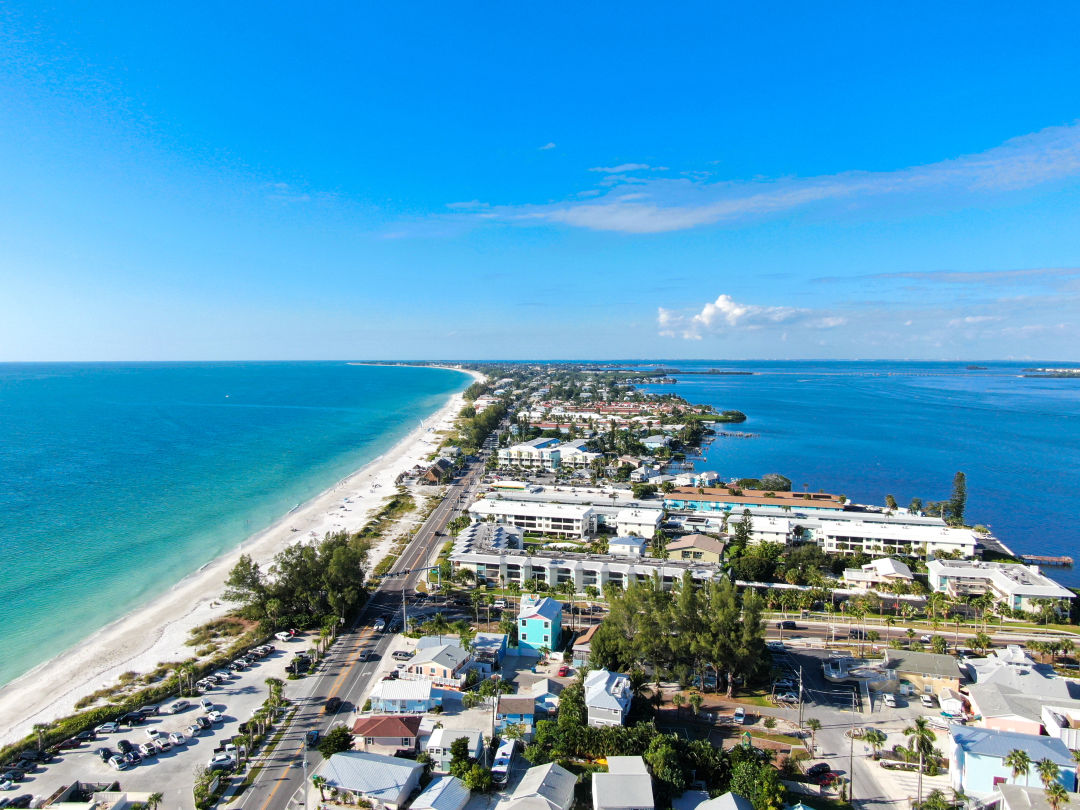 An aerial view of Anna Maria Island