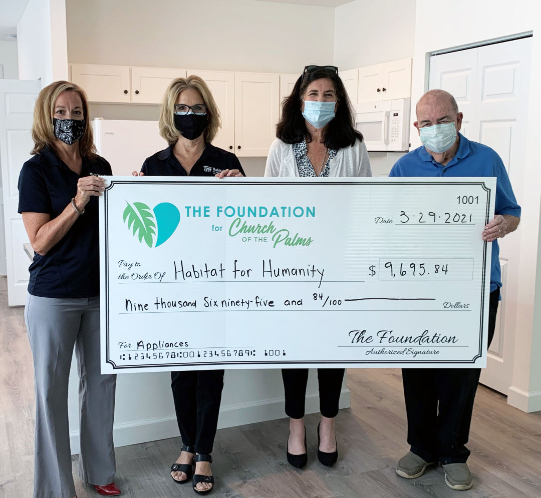Habitat for Humanity received a $9,695.84 grant from the Foundation for Church of the Palms.