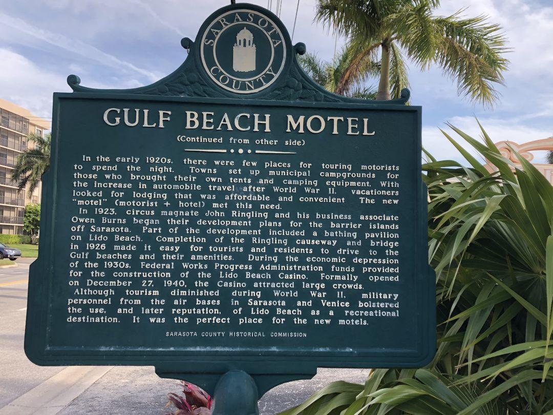 The Gulf Beach Resort Motel's historic marker.