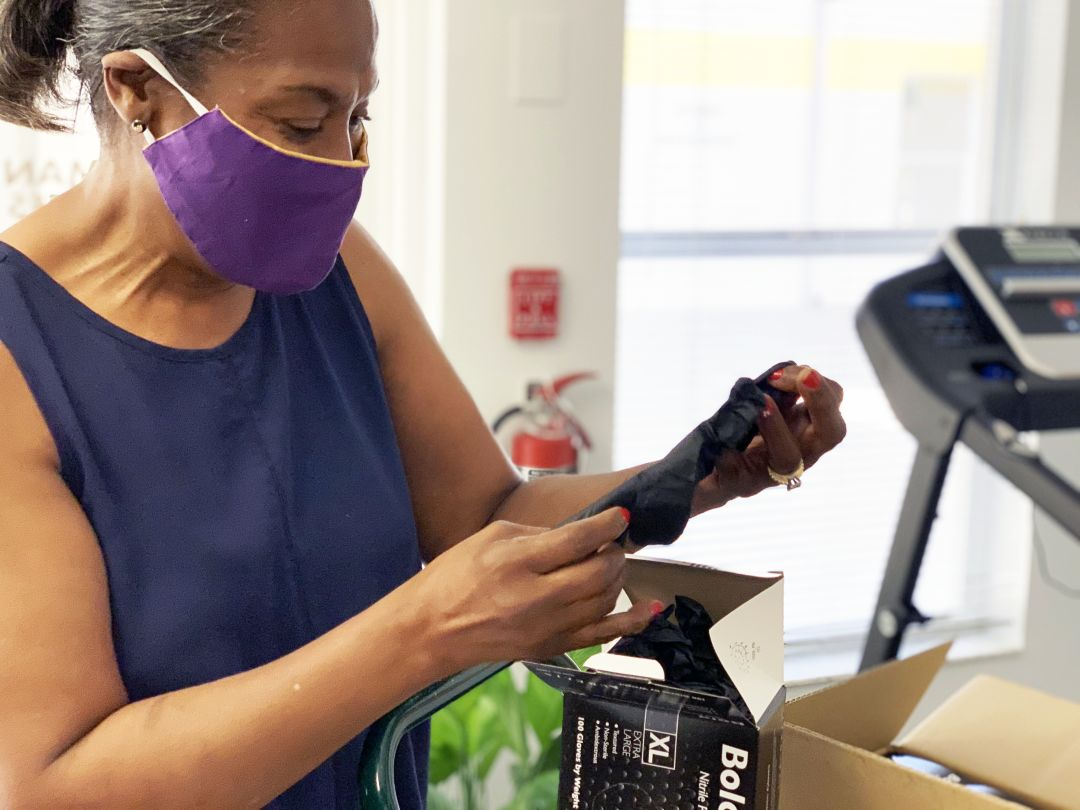 Mary Bryant, secretary at the Bethlehem Baptist Church in Newtown, recently picked up a PPE delivery at Glasser/Schoenbaum Human Services Center