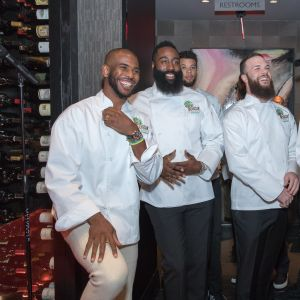 best service ef545 df910 Chris Paul, James Harden, and Carmelo Anthony Become Mastro s Servers for a  Cause