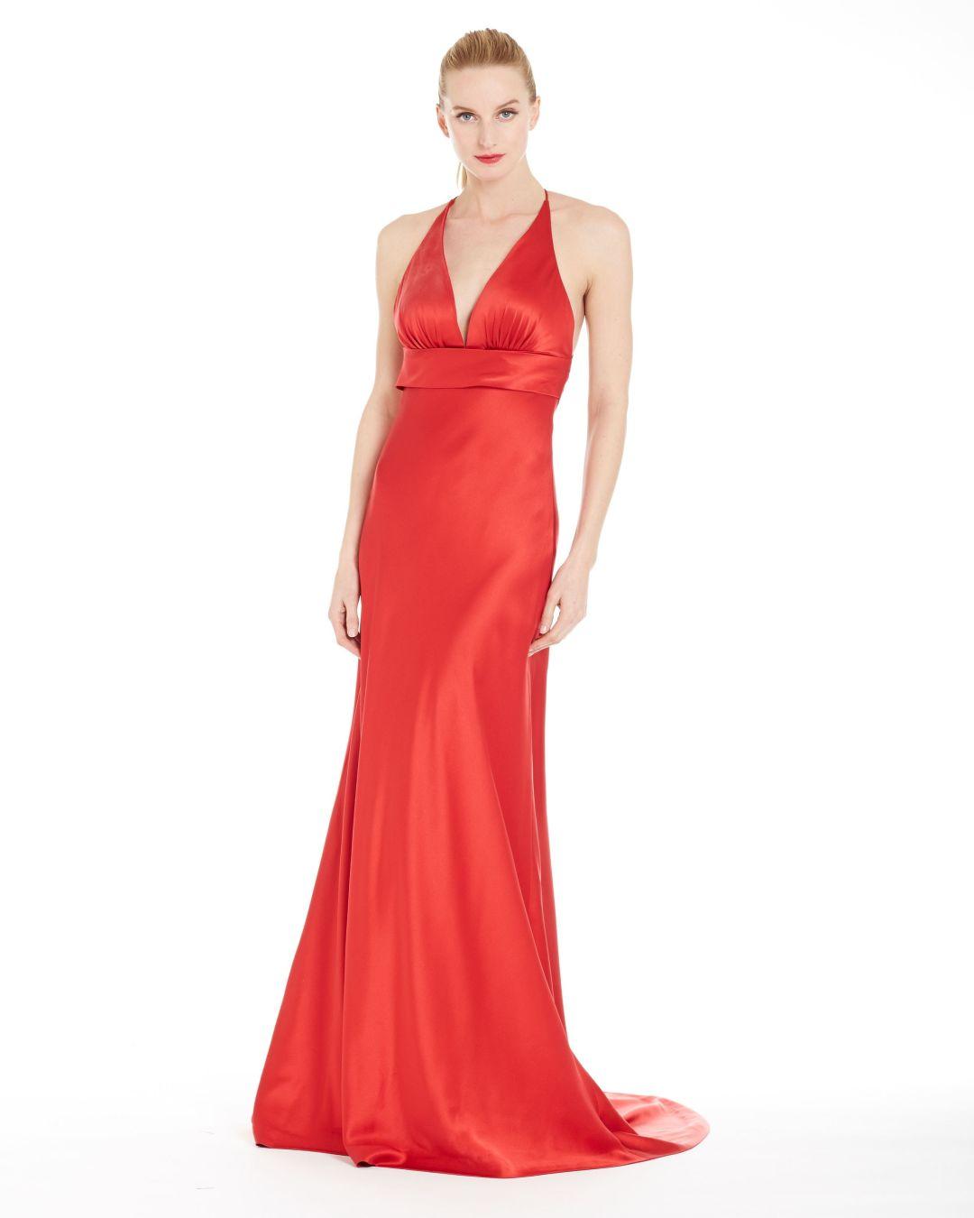 Lypl liquid luly yang ruby silk charmeuse spaghetti strap gown front 1 rvewm7