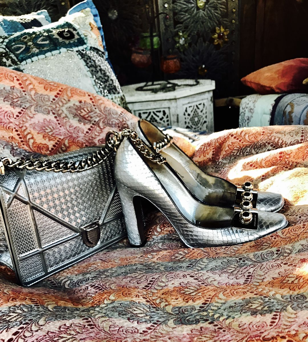 Dolce   gabbana silver reptilian pumps and diorama dior bag kb294m
