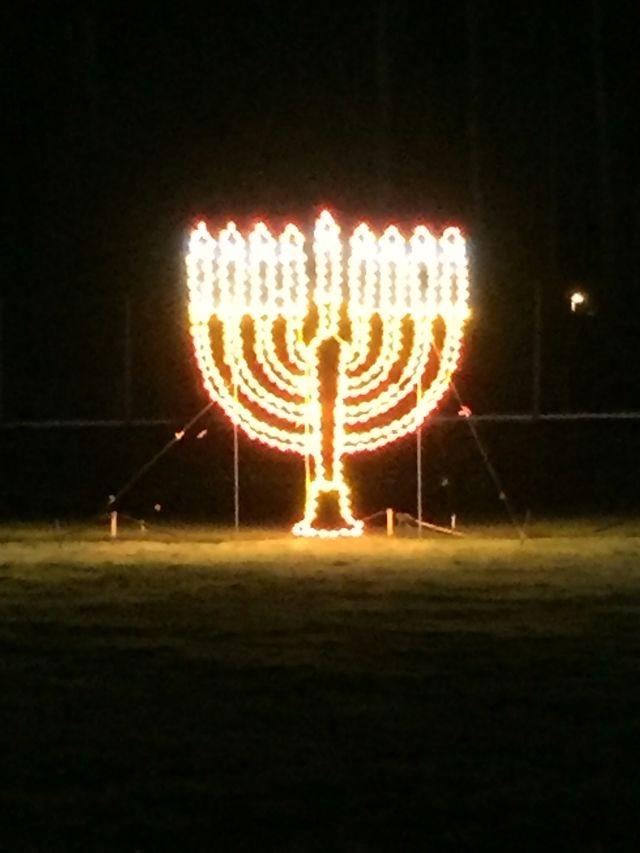 A menorah at the 2019 Winter Wonderland at PIR