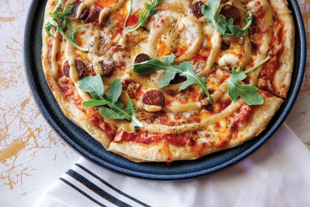 1592's grilled merguez pizza