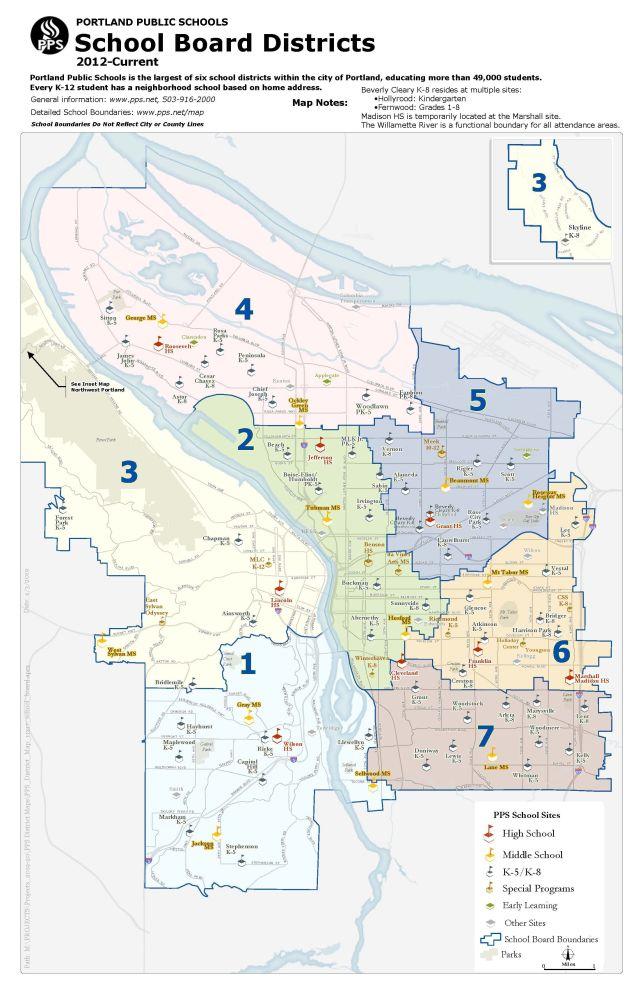 Map of residency zones for Portland Public Schools Board of Directors