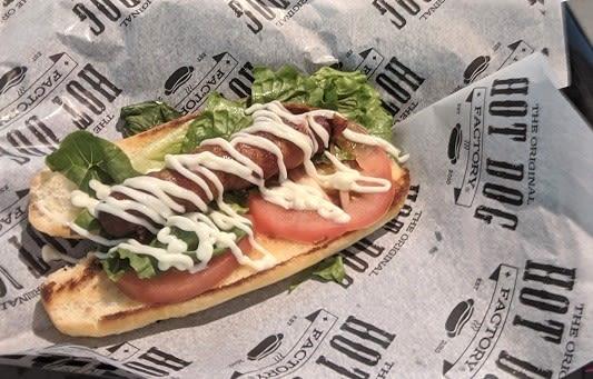 A hotdog from The Original Hot Dog Factory.
