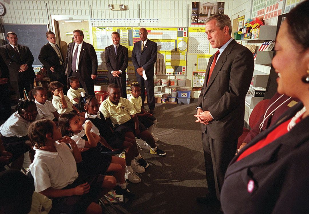 President Bush greeting students at Emma E. Booker Elementary on 9/11.