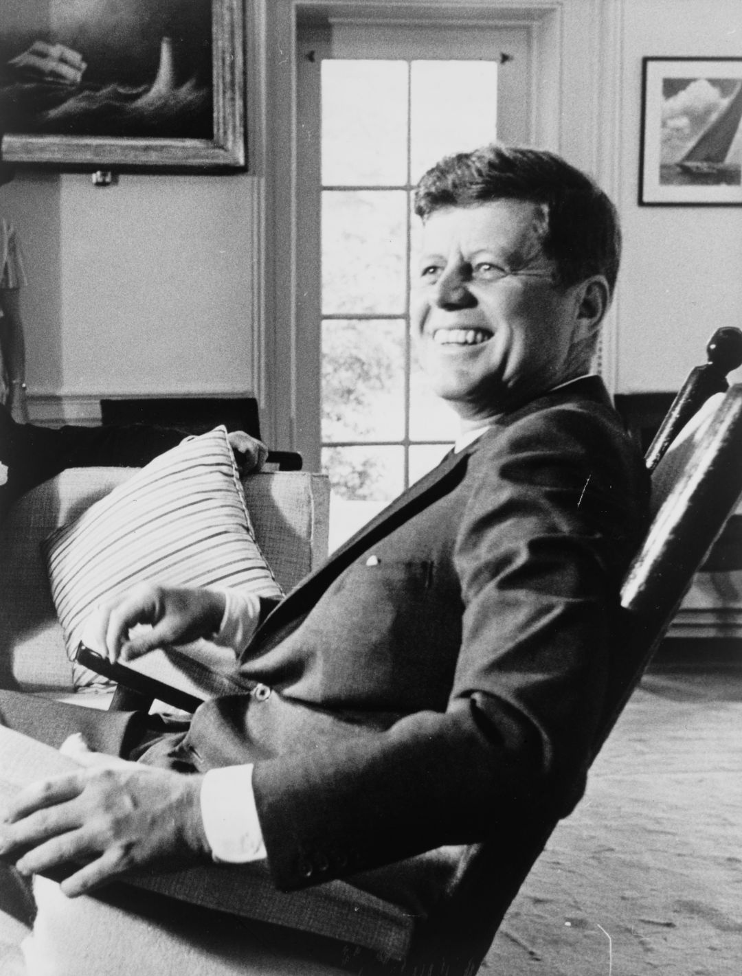 President John F Kennedy Half Length Portrait Seated In Rocking Chair Facing Slightly Left Library Of Congress Rn Lc Usz62 133121