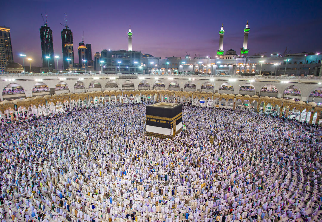 Muslims gather in Mecca during the 2018 Hajj.