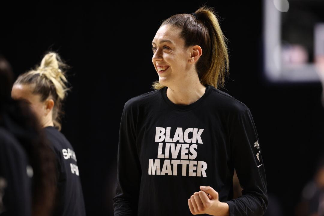 Breanna Stewart with a Black Lives Matter shirt