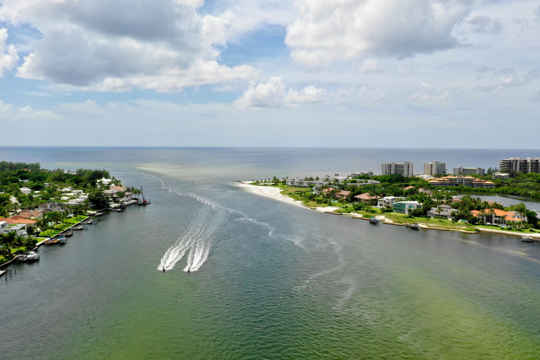 Red tide visible in Sarasota waters during 2018.