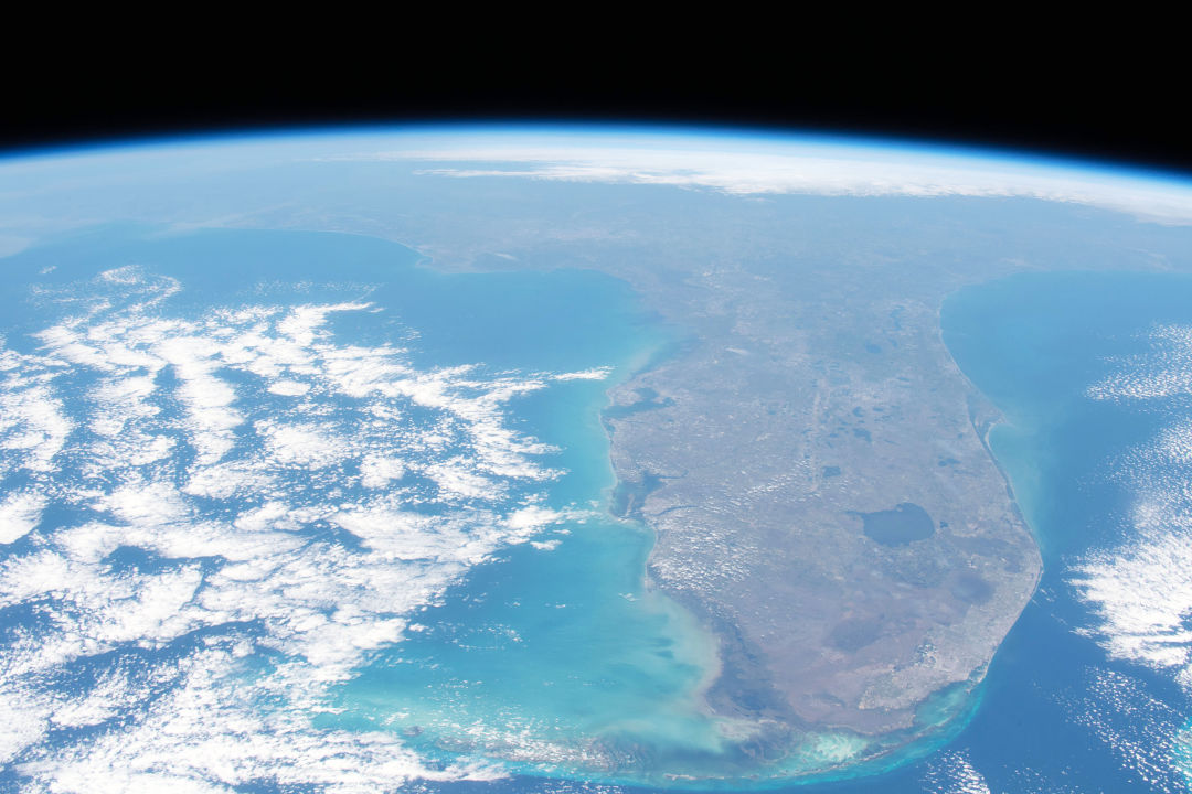 Florida as seen from International Space Station, 263 miles above the Caribbean Sea.