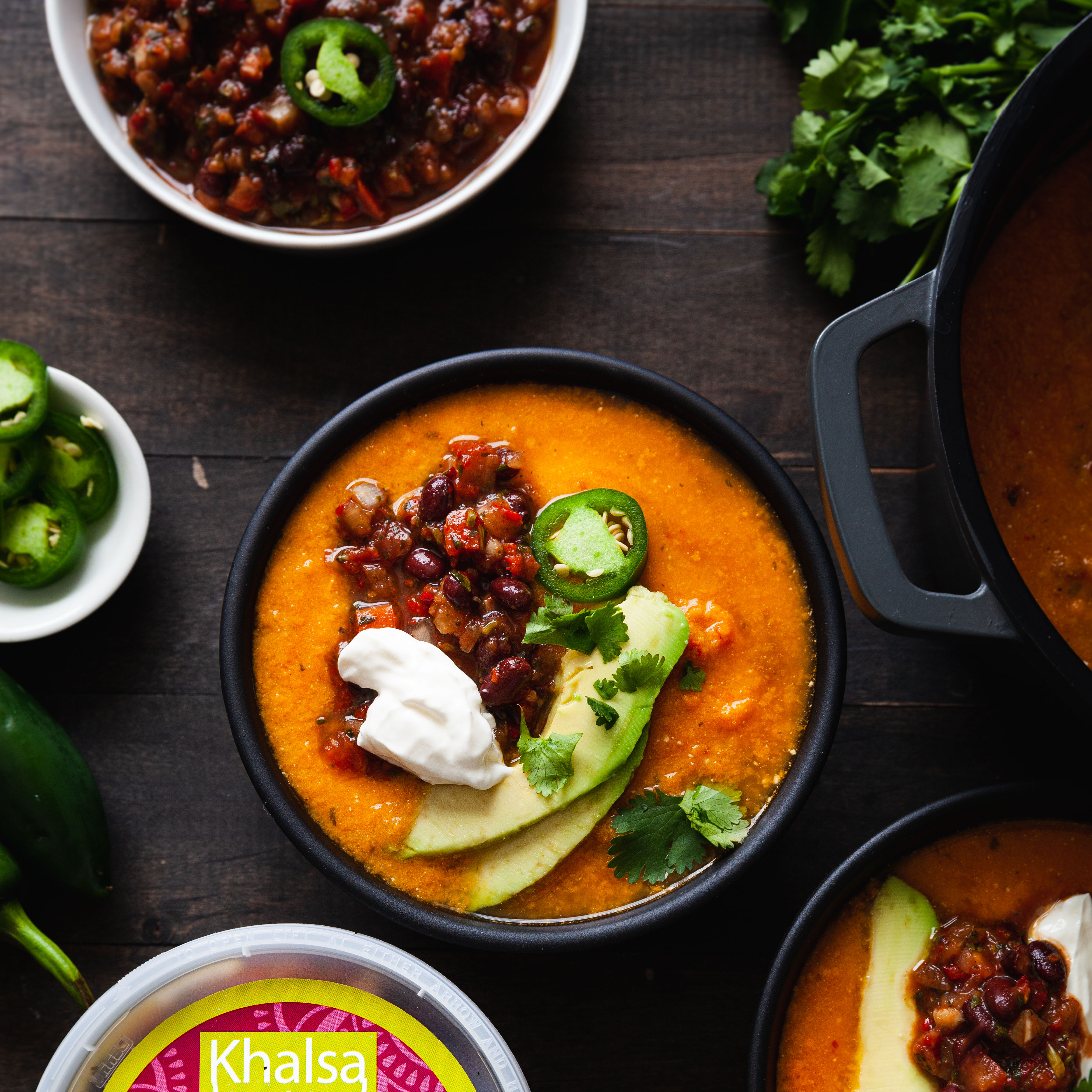 Make Khalsa Salsa's Sweet Potato Soup with Black Bean Salsa