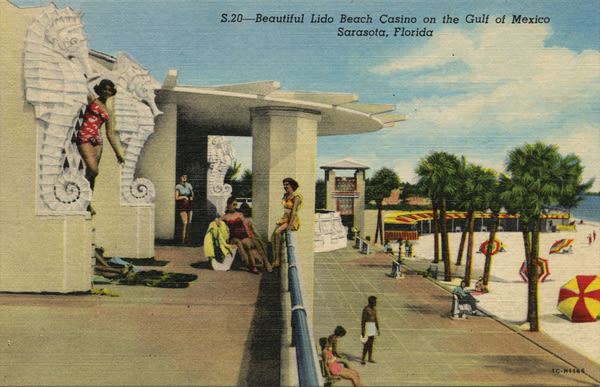 A postcard shows the beach pavilion's concrete seahorses