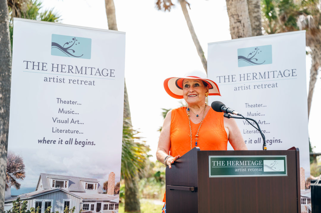 Flora Major, Hermitage supporter, speaks about the Hermitage Major Theater Award at announcement event on June 21, 2021.