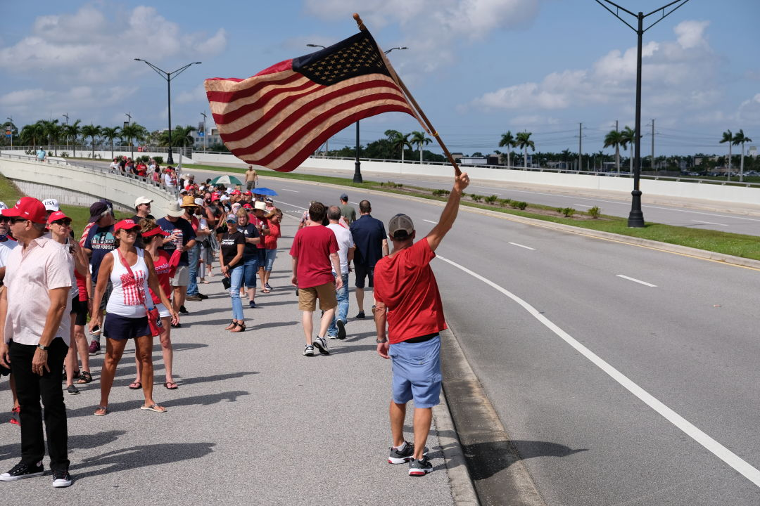 Trump supporters line up at Nathan Benderson Park on Tuesday afternoon.