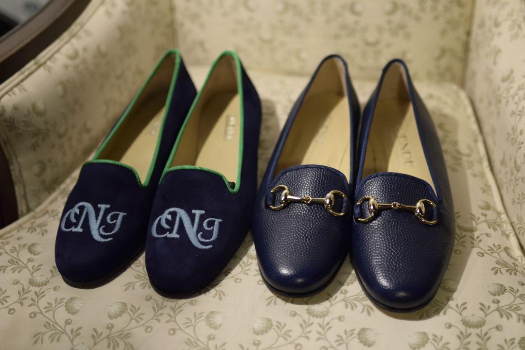 Duende bespoke monogram in navy suede and in stock navy pebblegrain leather with horsebit ladies praac8